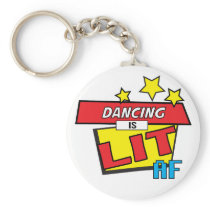 dancing is LIT AF Pop Art comic book style Keychain