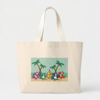 Dancing Island Parrots Large Tote Bag