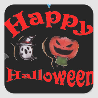 Dancing Jack o' Lantern and a Ghost Square Sticker