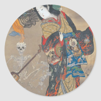 Dancing Japanese Skeletons, Skeleton with Guitar Classic Round Sticker