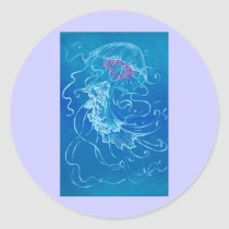 DANCING JELLYFISH CLASSIC ROUND STICKER