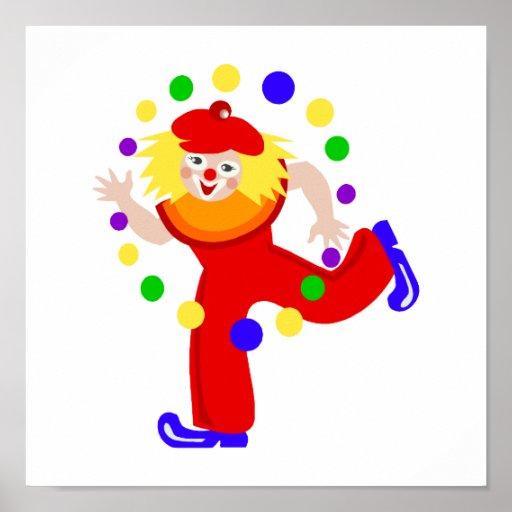 Dancing Juggler Clown Poster