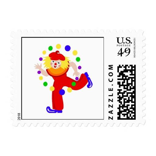 Dancing Juggler Clown Stamps