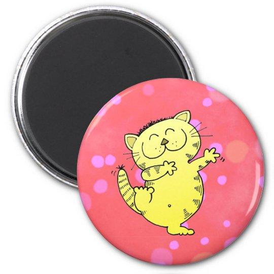 Dancing Kitten In Red Room Magnet