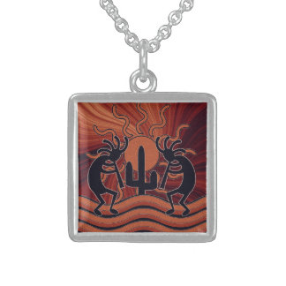 Dancing Kokopelli Desert Sunset Southwest Cactus Square Pendant Necklace