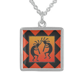 Dancing Kokopelli Desert Sunset Southwest Tribal Sterling Silver Necklace