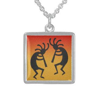 Dancing Kokopelli Sunset Southwest Flute Player Square Pendant Necklace