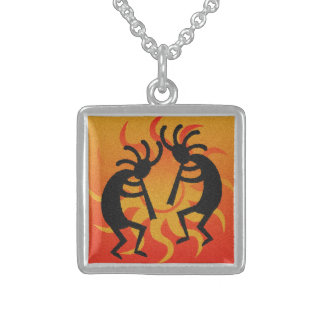 Dancing Kokopelli Sunset Southwest Tribal Sun Square Pendant Necklace