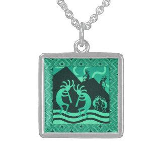 Dancing Kokopelli Turquoise Southwest Flute Player Square Pendant Necklace