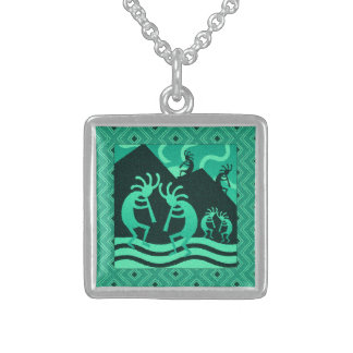 Dancing Kokopelli Turquoise Southwest Flute Player Sterling Silver Necklace