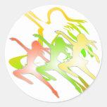 Dancing ladies theme round stickers