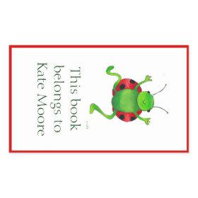 Dancing ladybug bookplate rectangular sticker