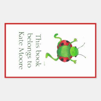 Dancing ladybug bookplate sticker