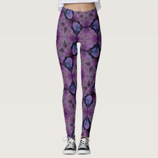 Dancing Leaves Purple Geometric Leggings