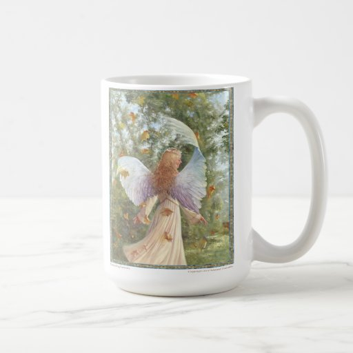 """Dancing Leaves""  White ceramic coffee mug"