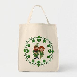 Dancing Leprecauns Pixel Art St. Patrick's Day Tote Bags