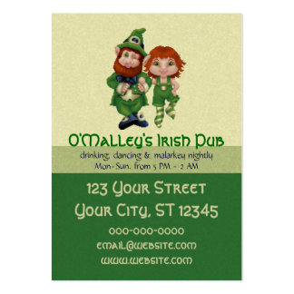Dancing Leprecauns Pixel Art St. Patrick's Day Large Business Cards (Pack Of 100)