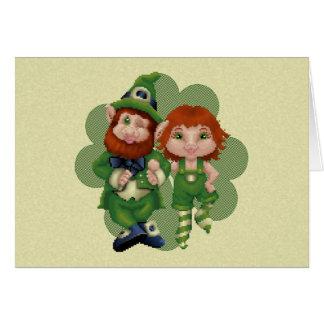Dancing Leprecauns Pixel Art St. Patrick's Day Greeting Card