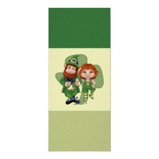 Dancing Leprecauns Pixel Art St. Patrick's Day 4x9.25 Paper Invitation Card