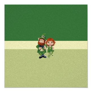 Dancing Leprecauns Pixel Art St. Patrick's Day 5.25x5.25 Square Paper Invitation Card