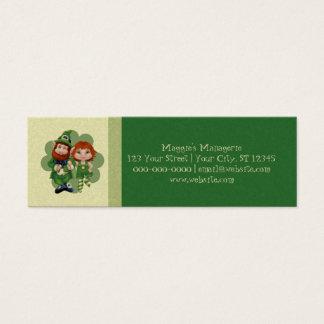 Dancing Leprecauns Pixel Art St. Patrick's Day Mini Business Card