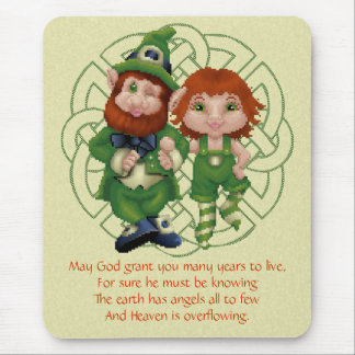 Dancing Leprecauns Pixel Art St. Patrick's Day Mouse Pad