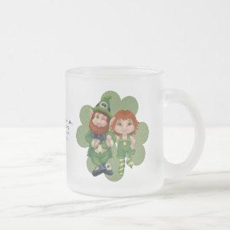 Dancing Leprecauns Pixel Art St. Patrick's Day 10 Oz Frosted Glass Coffee Mug