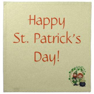 Dancing Leprecauns Pixel Art St. Patrick's Day Printed Napkin