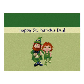 Dancing Leprecauns Pixel Art St. Patrick's Day Postcard