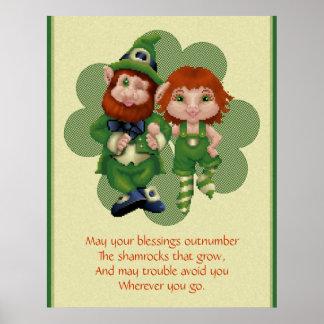 Dancing Leprecauns Pixel Art St. Patrick's Day Poster