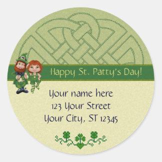 Dancing Leprecauns Pixel Art St. Patrick's Day Classic Round Sticker