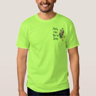Dancing Leprechaun Embroidered T-Shirt