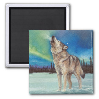 Dancing Lights howling wolf magnet
