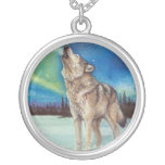 Dancing Lights howling wolf necklace