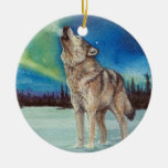 Dancing Lights howling wolf round ornament