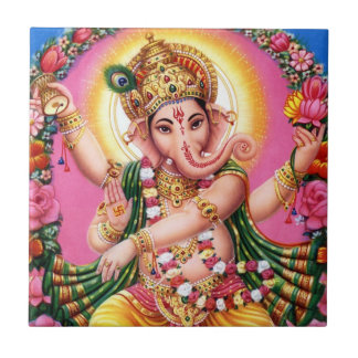Dancing Lord Ganesha Ceramic Tile