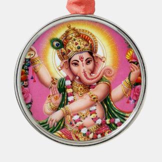Dancing Lord Ganesha Round Metal Christmas Ornament