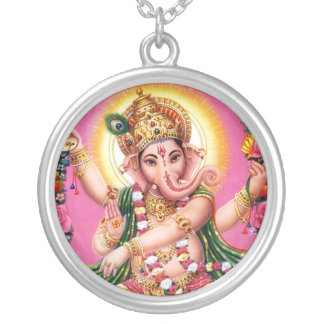 Dancing Lord Ganesha Round Pendant Necklace