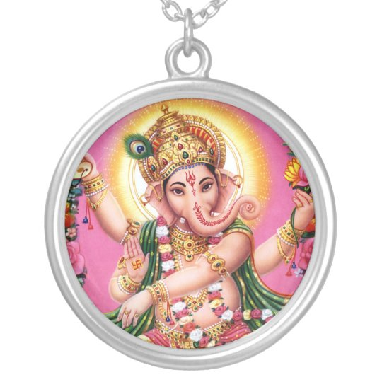 Dancing Lord Ganesha Silver Plated Necklace