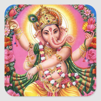Dancing Lord Ganesha Square Sticker