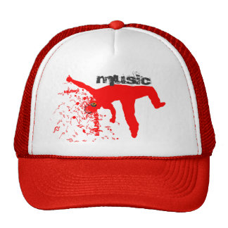 Dancing Man, Red Silhouette Music Concept Design 2 Trucker Hat