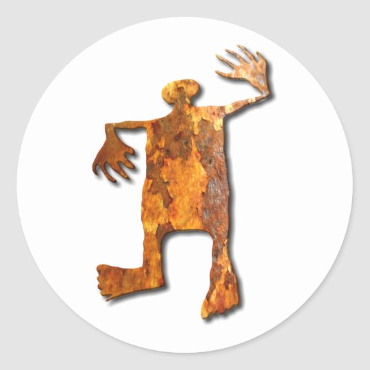 Dancing Man rust Classic Round Sticker