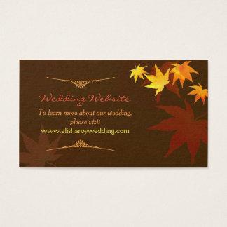Dancing Maple Leaf Fall Wedding Website Enclosure Business Card