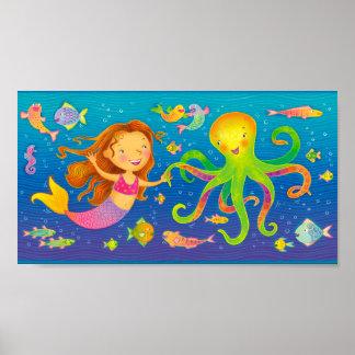 Dancing Mermaid and Octopus Poster