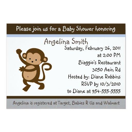Dancing Monkey Baby Shower Invitation