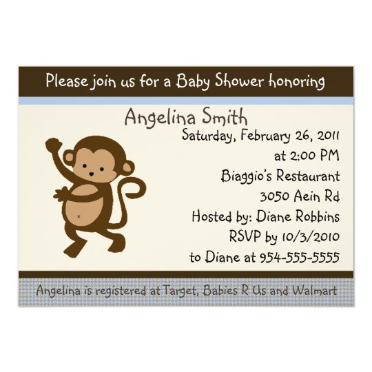 Dancing Monkey Baby Shower Invitation