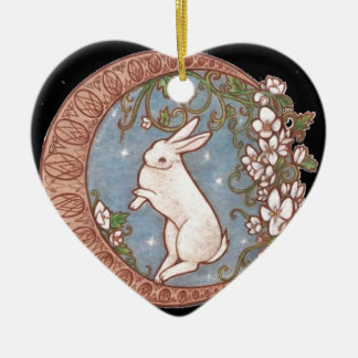 DANCING MOON RABBIT Double-Sided HEART CERAMIC CHRISTMAS ORNAMENT