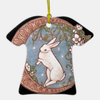 DANCING MOON RABBIT Double-Sided T-Shirt CERAMIC CHRISTMAS ORNAMENT