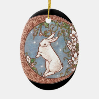DANCING MOON RABBIT Double-Sided OVAL CERAMIC CHRISTMAS ORNAMENT