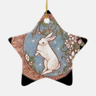 DANCING MOON RABBIT Double-Sided STAR CERAMIC CHRISTMAS ORNAMENT